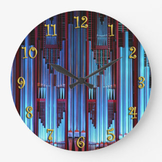 Tubos de órgano azules reloj redondo grande