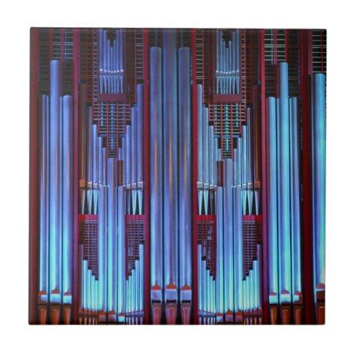 Tubos del azul del órgano de ayuntamiento de Chris Azulejo Cuadrado Pequeño