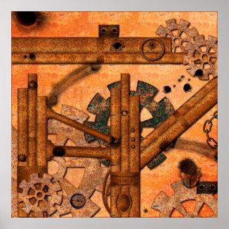 Tubos oxidados del metal póster