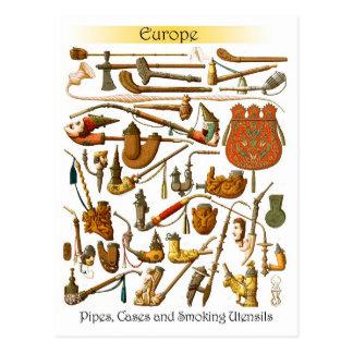 Tubos que fuman, casos y utensilios europeos postales