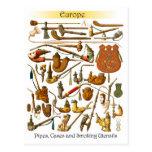 Tubos que fuman, casos y utensilios europeos tarjeta postal
