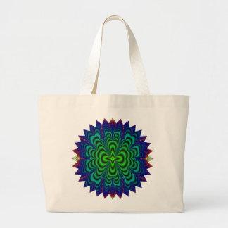 Tubos verdes de neón del espacio del fractal del bolsa tela grande