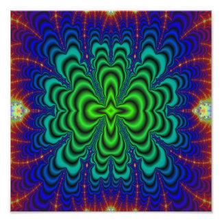Tubos verdes de neón del espacio del fractal del impresion fotografica