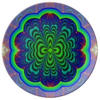 Tubos verdes de neón del espacio del fractal del plato de cerámica