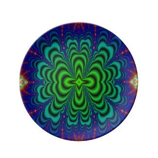 Tubos verdes de neón del espacio del fractal del platos de cerámica