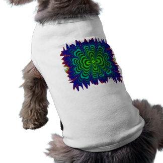 Tubos verdes de neón del espacio del fractal del playera sin mangas para perro