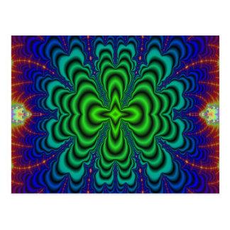 Tubos verdes de neón del espacio del fractal del postales