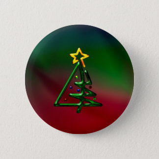 Tubular Chrome Christmas Tree Pinback Button