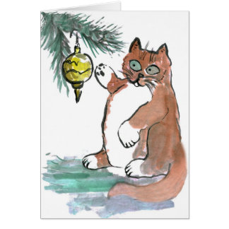Tuby, the kitten, Taps a Gold Ornament Card