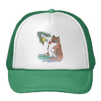 Tuby, the kitten, Taps a Gold Ornament Trucker Hats