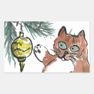 Tuby, the kitten, Taps a Gold Ornament Rectangular Sticker