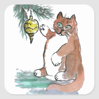 Tuby, the kitten, Taps a Gold Ornament Square Sticker