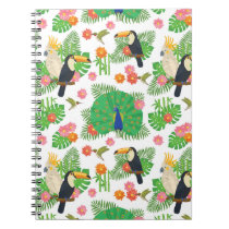 Tucan And Peacock Pattern Notebook