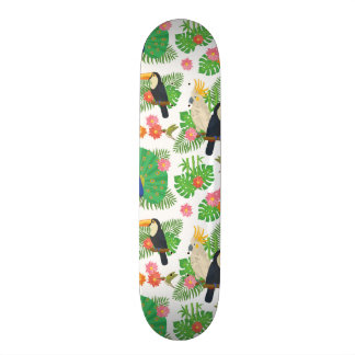 Tucan And Peacock Pattern Skateboard