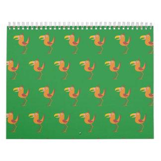 Tucan Bird bright green Wall Calendars