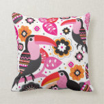 Tucan exotic bird illustration pattern throw pillows