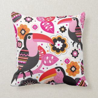 Tucan exotic bird illustration pattern throw pillow