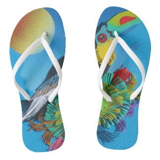Tucan Flip Flops that match to make an image. Blue