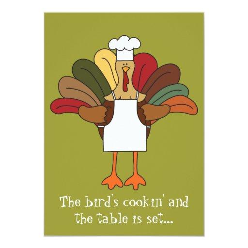 Tucker Turkey Chef Thanksgiving Dinner Invitation