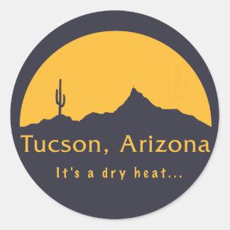 Tucson, Arizona - es un calor seco… Pegatina Redonda