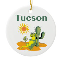 Tucson Arizona Lizard under Saguaro Ceramic Ornament