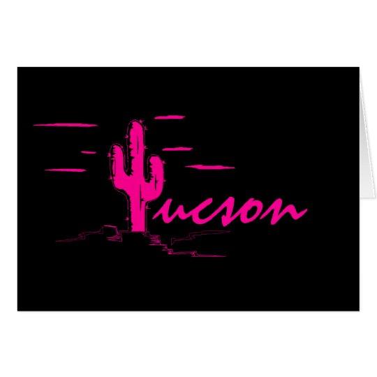 Tucson Arizona Neon Desert Nights Saguaro Cactus Card