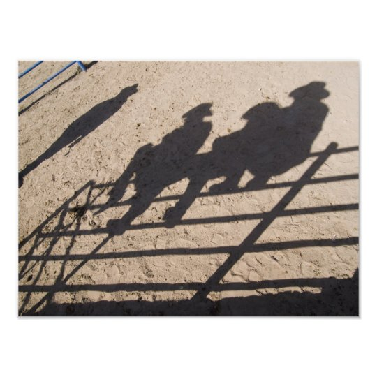 Tucson, Arizona: Shadows of Rodeo competitors Photo Print