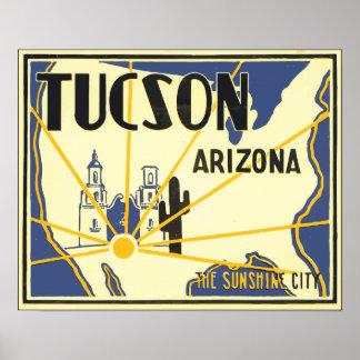 Tucson Arizona The Sunshine City, Vintage Poster
