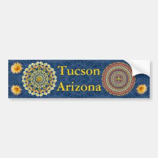 Tucson Bumper Sticker with Barrel Cactus Mandalas