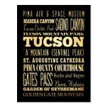 Tuczon City of Arizona State Typography Art Post Card