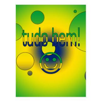 Tudo Bem! Brazil Flag Colors Pop Art Postcard