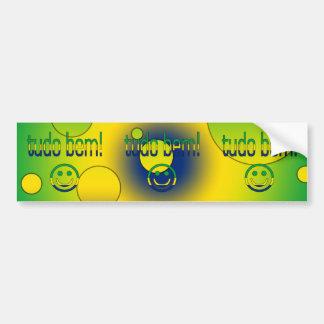 ¡Tudo Bem La bandera del Brasil colorea arte pop Etiqueta De Parachoque