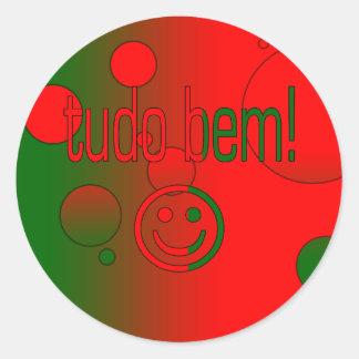 Tudo Bem! Portugal Flag Colors Pop Art Classic Round Sticker