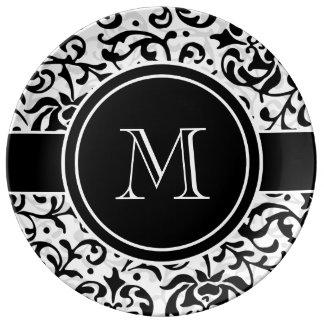 Tudor blanco y negro cultiva un huerto damasco plato de cerámica