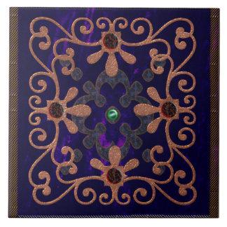 tudor era blue velvet ceramic tile
