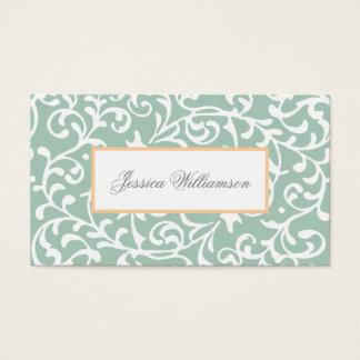 Tudor Gardens Jade Green Damask Elegant Business Card
