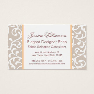 Tudor Gardens Soft Gray Damask Elegant Business Card