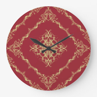 Tudor Inspired Gold and Red Fractal Diamond Design Large Clock