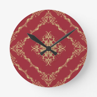 Tudor Inspired Gold and Red Fractal Diamond Design Round Clock