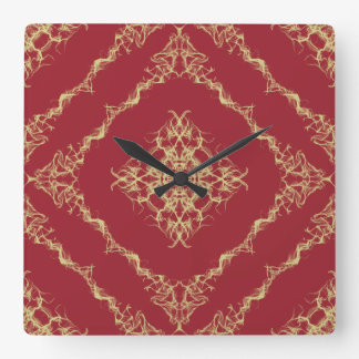 Tudor Inspired Gold and Red Fractal Diamond Design Square Wall Clock
