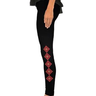 Tudor Inspired Gold and Red Fractal Diamond Legging Tights