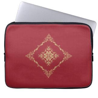 Tudor inspiró el oro y el fractal rojo 13 pulgadas funda computadora