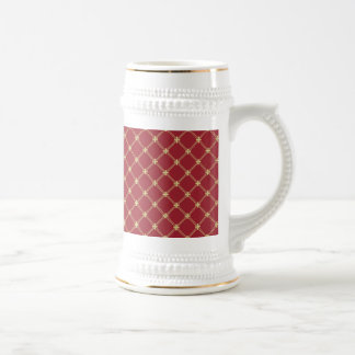 Tudor Red and Gold Criss-Cross Pattern Beer Stein