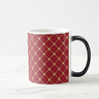 Tudor Red and Gold Criss-Cross Pattern 11 Oz Magic Heat Color-Changing Coffee Mug