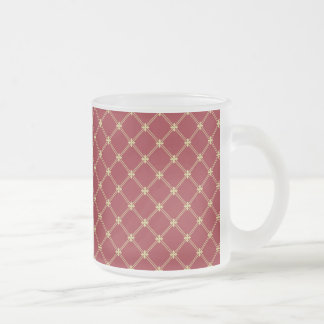 Tudor Red and Gold Criss-Cross Pattern 10 Oz Frosted Glass Coffee Mug