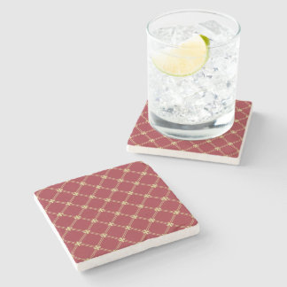 Tudor Red and Gold Criss-Cross Pattern Stone Beverage Coaster