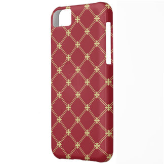 Tudor Red and Gold Diagonal Pattern Cover For iPhone 5C