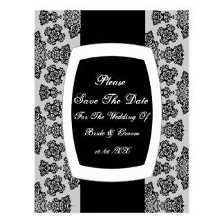 Tudor Rose Damask (Black) Save The Date Postcard