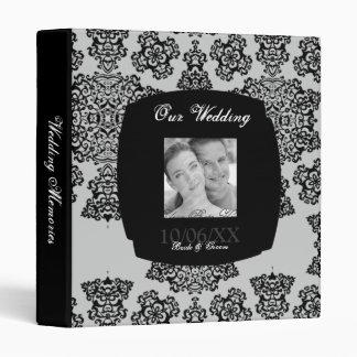 Tudor Rose Damask (Black) Wedding 3 Ring Binder