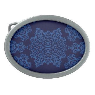 Tudor Rose Damask  (Blue) Belt Buckles